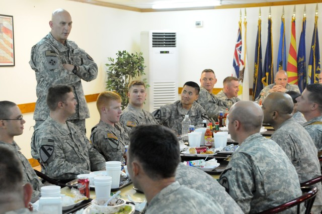 Gen. Raymond Odierno, Commanding General of Multi-National Forces Iraq, talks with Soldiers from Headquarters and Headquarters Company, 1st Battalion, 12th Cavalry Regiment, 3rd Brigade Combat Team, 1st Cavalry Division on July 25 at Forward Operating Base Q-West, Iraq. Gen. Odierno flew to FOB Q-West to receive an operations and intelligence update from 1st Battalion, 12th Cavalry Regiment and have lunch with Soldiers from the battalion.