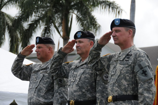 FORT SHAFTER, Hawaii (July 29, 2009) --  Maj. Gen. Raymond Mason, Lt. Gen. Benjamin Mixon, and Brig. Gen. Michael Terry salute the troops during the 8th Theater Sustainment Command change of command ceremony on Palm Circle July 29 at Fort Shafter.