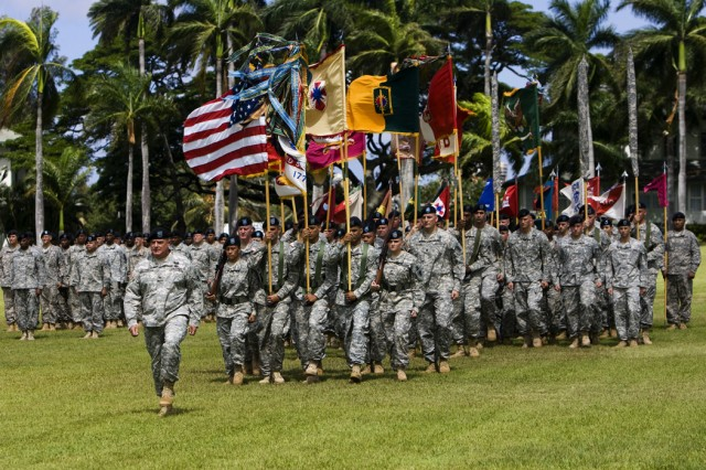 FORT SHAFTER, Hawaii (July 29, 2009) -- Col. Darryl W. Daugherty, 8th TSC Chief of Staff and Commander of Troops, marches the colors forward at the 8th TSC Change of Command ceremony.