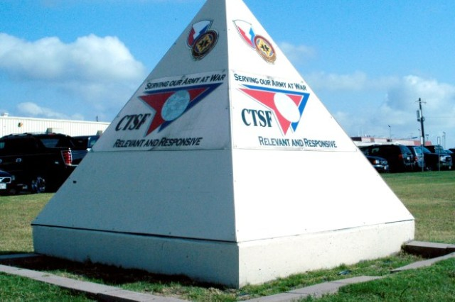 This pyramid marker helps Soldiers and visitors find the Central Technical Support Facility at Fort Hood.