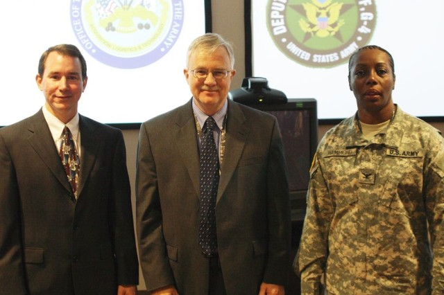 From left are LOGSA Logistics and Engineering Center deputy Lou Sciaroni, DASA (APL) representative Larry Hill and Army headquarters G-4/chief of field maintenance operations division Col. Michele Hammond.