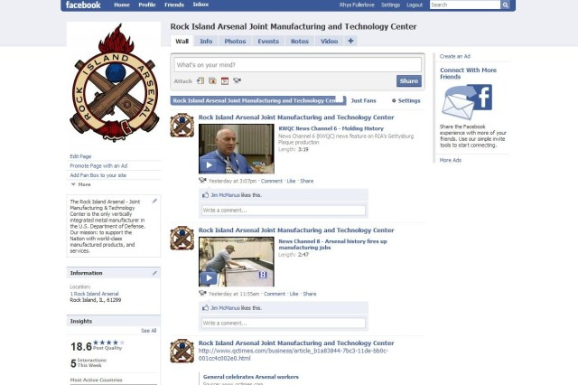 A screen shot of the RIA facebook page.