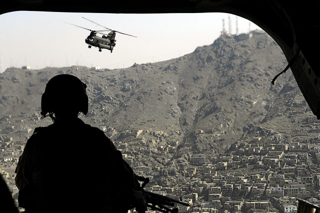 A CH-47 Chinook helicopter flies over Kabul, Afghanistan, June 4, 2007.
