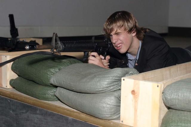 Sebastiaan Vonk takes aim at the engagement skill trainer simulator.