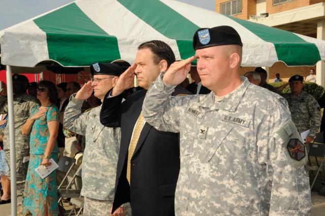 (From left) Col. John Holwick, former Fort Gordon garrison commander; Dave Tindoll, Southeast Region Installation Command director; and Col. Glenn Kennedy, Fort Gordon garrison commander.
