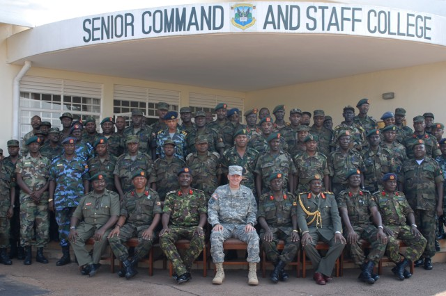 Maj. Gen. William B. Garrett III, commander of U.S. Army Africa (first row, center), with Kimaka Senior Command and Staff College students and leadership, during a July 30 visit to the college.
