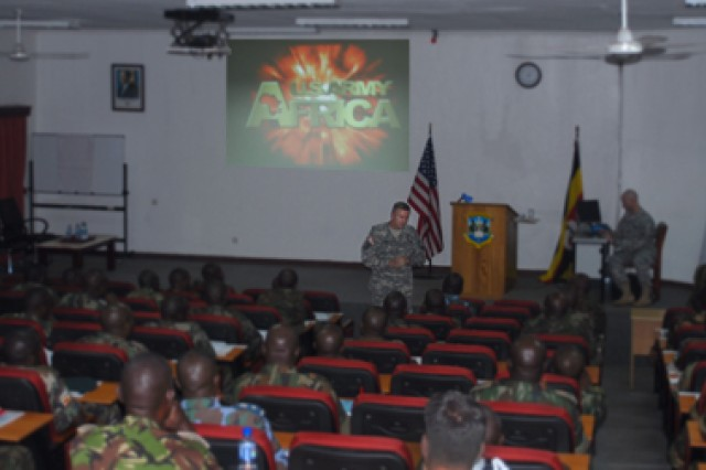 Maj. Gen. William B. Garrett III, commander of U.S. Army Africa, delivering an address during a July 30 visit to Kimaka Senior Command and Staff College.