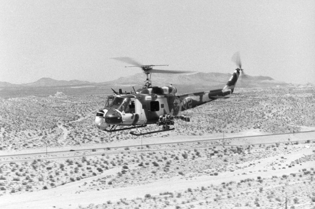 """FAUX Enemy! OPFORS or """"Opposing Forces,"""" at the National Training Center used UH-1 """"Huey"""" helicopters modified to look like  Soviet Il-24 """"Hind"""" helecopters for training U. S. forces at the NTC. (USAMHI RG 97S). """""""