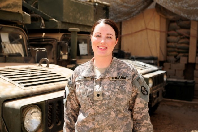 BAGHDAD -- Spc. Felicia Sloan, of Lumberton, N.C., is a Caiman mine resistant ambush protected vehicle driver on a team that protects the 30th Heavy Brigade Combat Team's command group at Forward Operating Base Falcon.