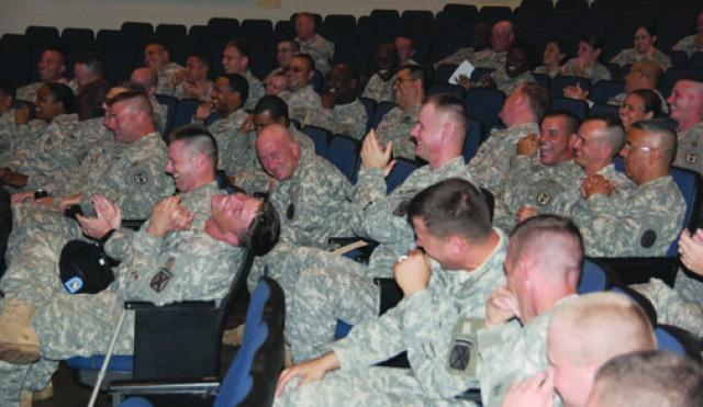 NCOs learn leadership traits from execs, humorist