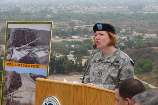 Col. Dombi speaks at fence ribbon-cutting