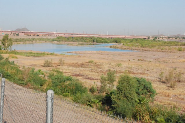 """The design of Phase I of the Va Shly'Ay Akimel project calls for this section of the Salt River, near the City of Mesa, Ariz., to get a """"facelift."""" The work will involve adding ponds fed by pumps and gravity drains to move water and increase riparian habitat."""