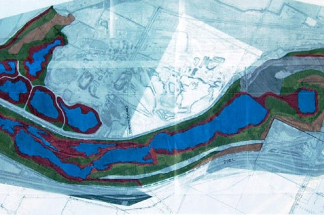 These plans detail Phase I of the Va Shly'Ay Akimel project. The design involves a series of ponds feeding into each other as they proceed downstream from the bridge at Alma School Rd. toward Hwy. 101 with water fed from the Price and Cypress Drains.