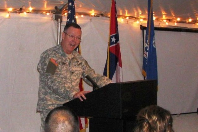 Col. Charles W. Kibben, commander of Crane Army Ammunition Activity, Crane, Ind., speaks at the Mississippi Army Ammunition Plant, Stennis Space Center, Miss., deactivation during ceremony on July 29, 2009.