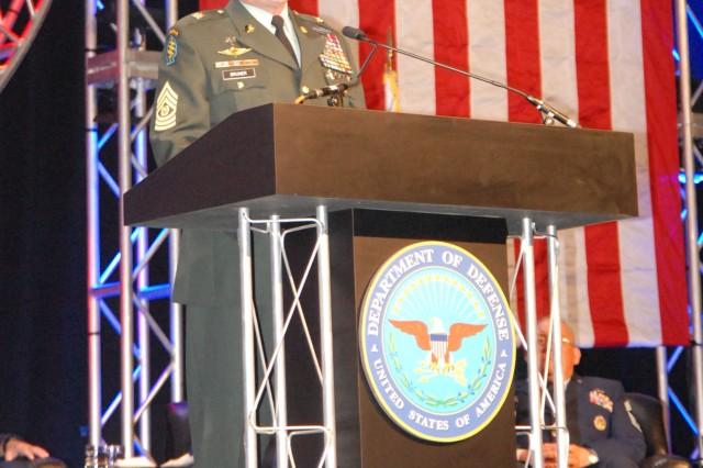 Command Sgt. Maj. Bruner speaks at the DoD Worldwide Education Symposium