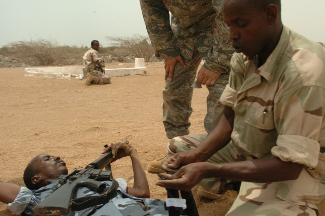 U.S. Air Force Senior Airman Nik Hook explains the correct way to apply a tourniquet during a training exercise at Camp Chekh Osman, Djibouti, Aug. 6, 2009. Soldiers from U.S. Army Central Command coordinated a combat life saver seminar with Combined Joint Task Force - Horn of Africa to demonstrate lifesaving skills with the Djiboutian Army.