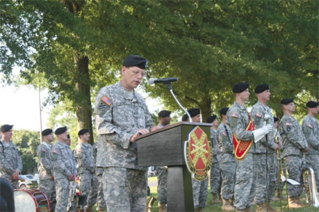 Col. Andy Bowes, outgoing Fort Eustis garrison commander, speaks during the garrison change of command ceremony Tuesday at Seay Plaza.