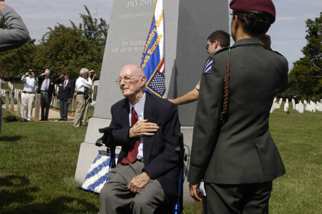Retired Maj. Gen. Lloyd B. Ramsey salutes during the wreath laying ceremony at the 3rd Infantry Division memorial during the Operation Dragoon ceremonies at Arlington National Cemetery, Aug. 5. Ramsey was instrumental in getting the monument made and put into Arlington National Cemetery.
