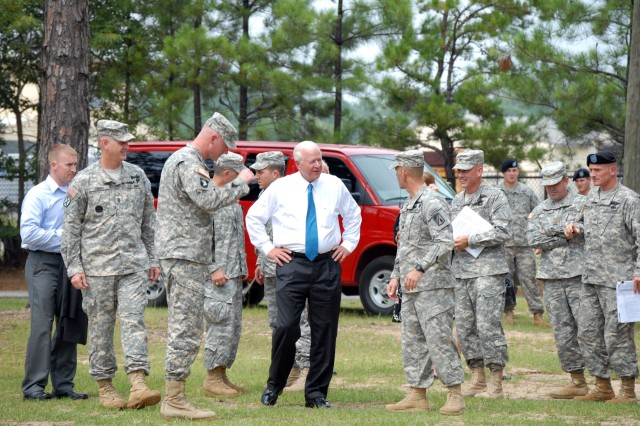 "FORT BENNING GA - U.S. Senator Saxby Chambliss  visited Cashe Town on Sand Hill Tuesday to observe training.  ""It gives him a chance to see some of his sons of Georgia in Infantry training,"" said MAJ Charles Hallman, operations officer for the 192nd Infantry Brigade."