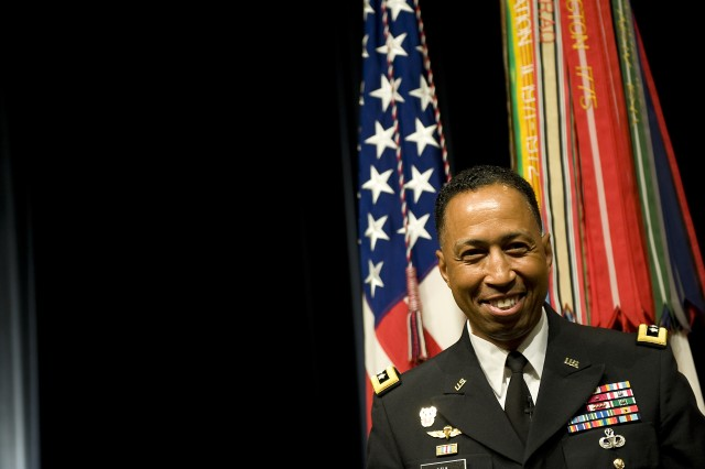 Lt. Gen. Dennis Via at his promotion ceremony at the Pentagon in Arlington, VA., on Aug 14, 2009.
