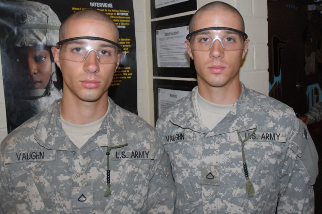 Twin brothers Pfc. Corey Vaughn, left, and Pfc. Brian Vaughn both are in Basic Combat Training at Company D, 1st Battalion, 61st Infantry Regiment. The two are in separate platoons, but said they have encouraged each other throughout BCT.