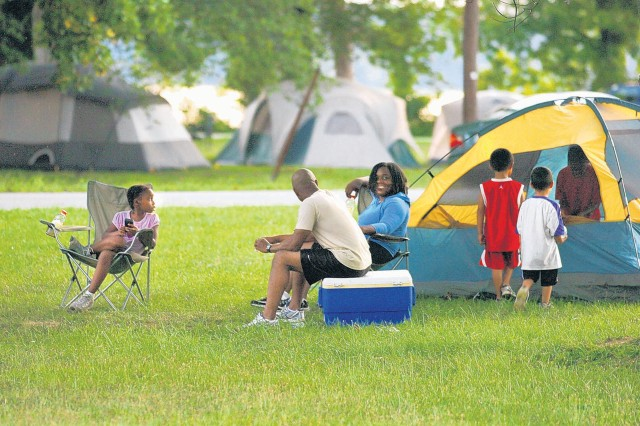Tents filled the grassy areas of Tompkins Basin Saturday as families relaxed in the shade during the Family Campout sponsored by DFMWR.
