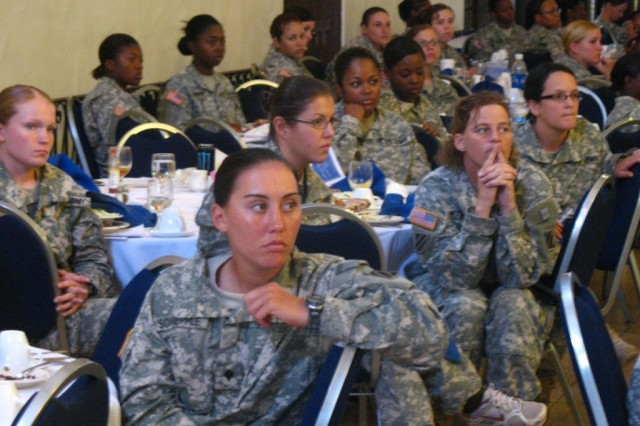 Approximately 200 3rd HBCT servicewomen attended the 3rd Heavy Brigade Combat Team, 3rd Infantry Division's, Female Soldier Deployment Readiness Luncheon Aug. 19 at the Fort Benning, Ga. Community Club. The servicewomen discussed issues such as field hygiene, sexual assault, reputation, and relationships with children which could concern them during the upcoming deployment.