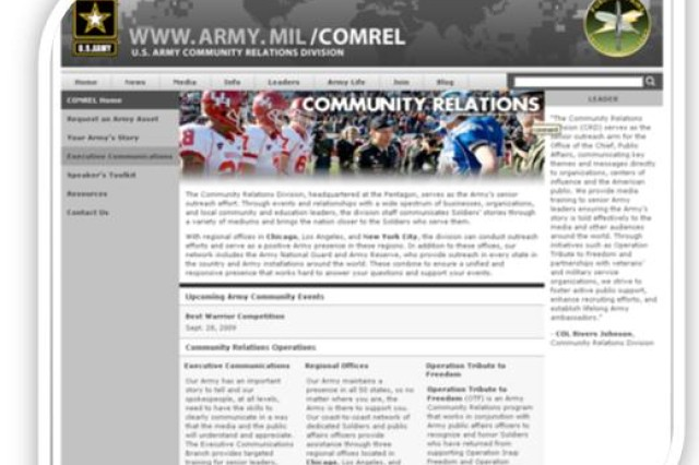 The U.S. Army Community Relations Division launched a new web site today, Aug. 20. Visit at http://www.army.mil/comrel
