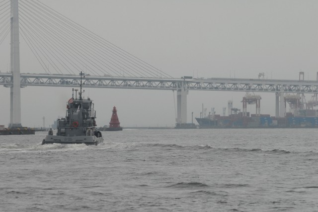 TOKYO, Japan -- An Army tug boat gets underway in Yokohama harbor during Exercise Pacific Reach 2009 in Japan.