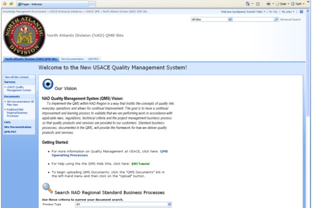 """Employees can review NAD's draft business processes and provide comments on them at the link below. To navigate to the USACE QMS site, click the link on the left side of the screen under """"Surveys."""""""