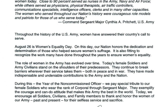 Women's Equality Day Senior Leader Message