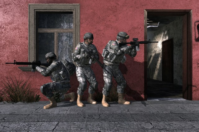 Soldiers stack up outside a room they are about to enter on the Impact map.
