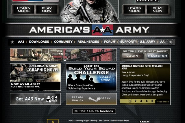 Screenshot of America's Army website.