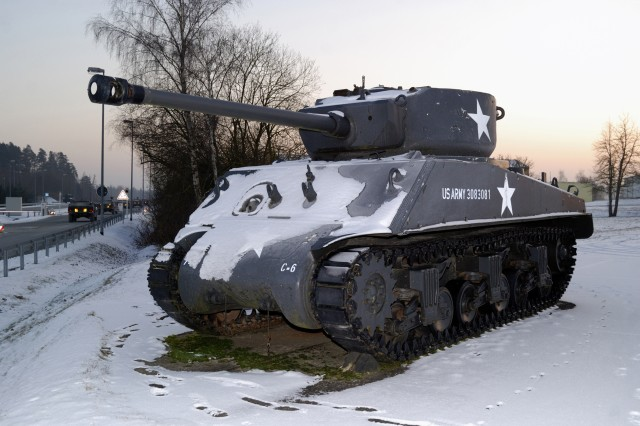 A tank in Bastogne, Belgium, used during the Battle of the Bulge.
