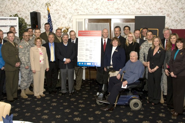 On Wednesday, April 15, 2009, with over 120 in attendance at a League of Municipalities meeting, Morris County New Jersey joined together to sign the 2009 Armed Forces Covenant. This Covenant Signing Ceremony took place with all the Mayors from Morris County signing the 2009 Armed Forces Community Covenant. The Covenant was also be signed by NJ Congressman Rodney P. Frelinghuysen, NJ Senator Anthony R. Bucco, NJ Assemblyman Michael Patrick Carroll, The Civilian Aide to the Secretary of the Army from NJ, Mr. Robert Maguire, The NJ Adjutant General, MG Glenn Reith, BG Larry Wyche, Commanding JM&L LCMC, COL Russell Hrdy, Acting Senior Mission Commander Picatinny Arsenal, CEO of United Way, John Franklin, the President of the Morris County Chamber of Commerce, Paul Boudreau and numerous other local community and military representatives.