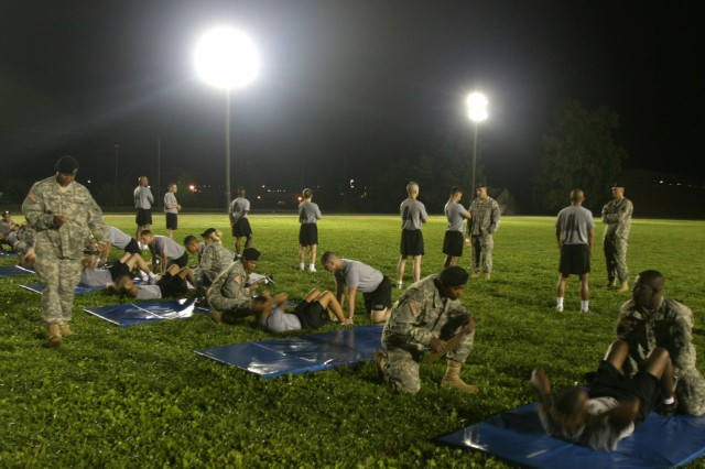 80th Training Command Best Warrior competitors completed the sit-up portion of the Army Physical Fitness Test on their first morning of testing.