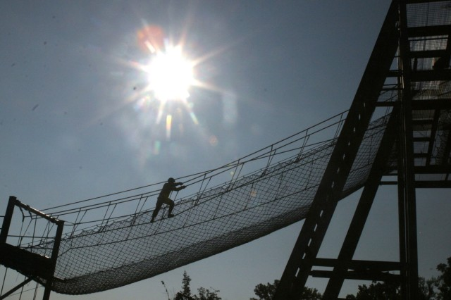 One-, two-, and three-rope bridges had to be crossed before competitors could reach the rappel tower at the 80th Training Command's Best Warrior competition at Fort Knox Aug. 14