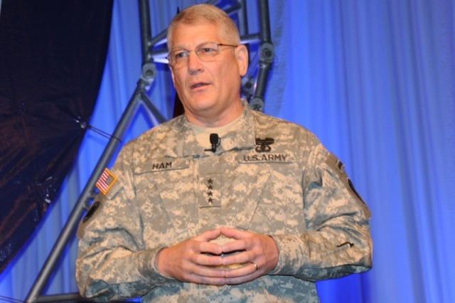 Gen. Carter F. Ham, Commanding General, United States Army Europe and Seventh Army, during the opening speech of the LandWarNet Conference held on Aug. 18 at the Broward County Convention Center, Fort Lauderdale, Fla.
