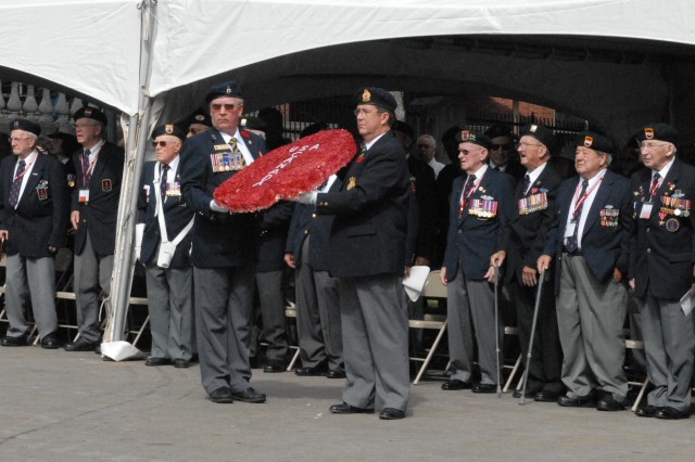 Members of the First Special Service Force stand as a wreath is prepared to be laid during a ceremony held to honor the FSSF Aug. 22 in Halifax, Canada during the Force's 63rd annual reunion.