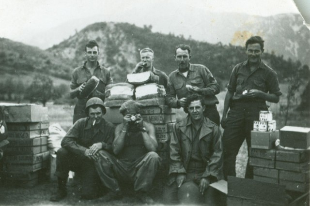Members of the First Special Service Force pause for a photo near Anzio, Italy in 1943.  The FSSF was a World War II combined special operations force which U.S. Army Special Forces units today trace a portion of their lineage from.