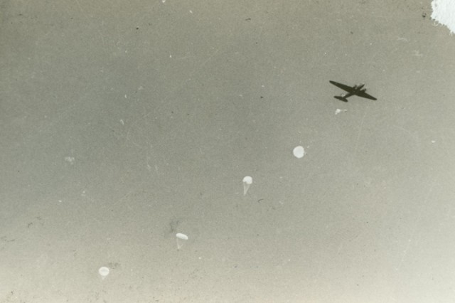 The First Special Service Force conducts airborne training near Helena, Mont. In 1942.  The FSSF was a World War II combined special operations force which U.S. Army Special Forces units today trace a portion of their lineage from.