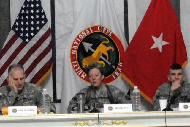 Brig. Gen. Heidi Brown, the commander of the responsible drawdown of forces in Iraq, discusses Multi-National Corps-Iraq's plans for the four phases of the responsible drawdown of troops and equipment from Iraq