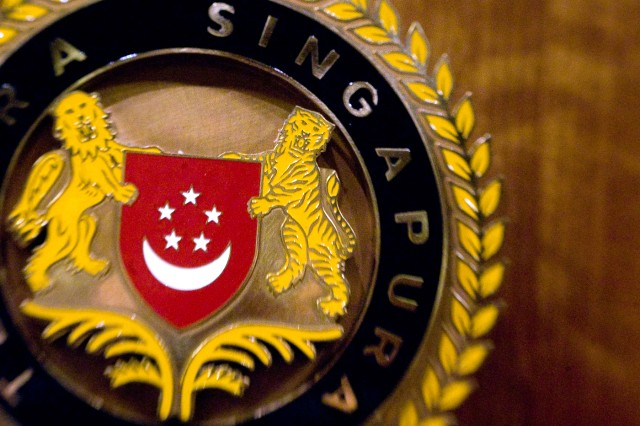 The seal of the Singaporean  Ministry of Defense in Singapore, Aug. 26, 2009.