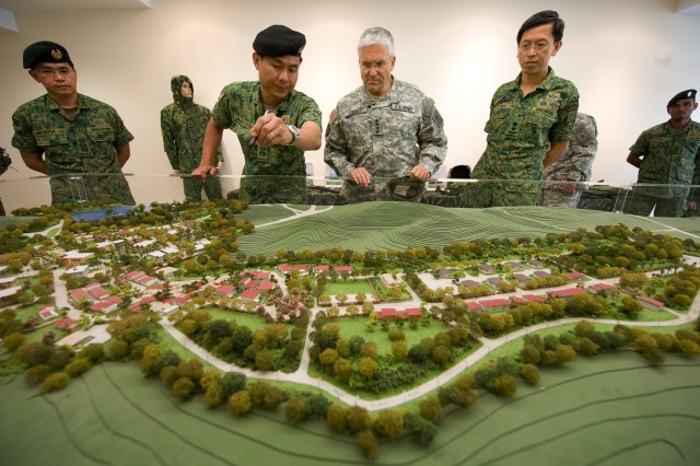 Singapore Army Lt. Col. Jimmy Toh briefs the Chief of Staff of the U.S. Army Gen. George W. Casey Jr. about Murai Urban Warfare Training Facility in Singapore, Aug. 26, 2009.