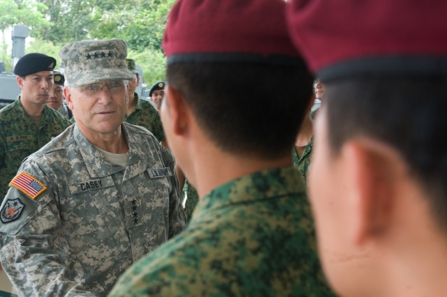 Singaporean Soldiers that have recently returned from Afghanistan meet the Chief of Staff of the U.S. Army Gen. George W. Casey Jr. in Singapore, Aug. 26, 2009.