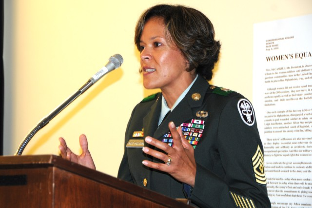 """1st Sgt. Sylvia Rios-Holcomb discusses being a woman in the Army during a Women's Equality Day presentation titled """"Women NCOs in the U.S. Army,"""" Aug. 26, on Capitol Hill."""