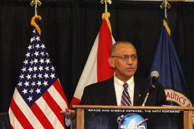 NASAAca,!a,,cs new administrator, retired Marine Corps Maj. Gen. Charles Bolden, speaks for the first time to a Huntsville audience at the 12th annual Space and Missile Defense Conference on Aug. 19.
