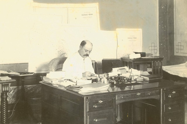 Tropical Service: Lieutenant Colonel Tasker H. Bliss in White Tropical Uniform, at His Desk While Chief of the Cuban Customs Service and Collector of Customs for Cuba and the Port of Havana, ca. 1899. (Tasker H. Bliss Collection).
