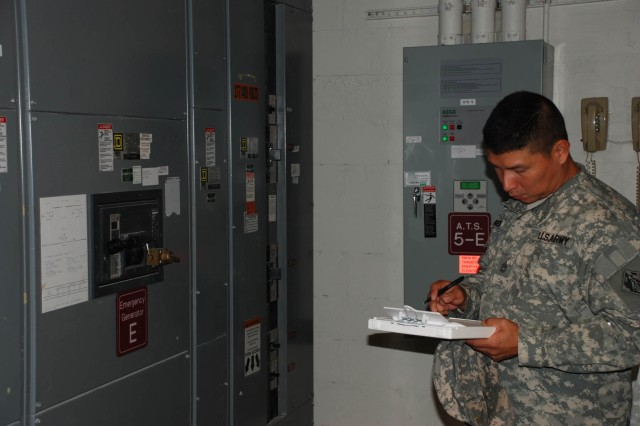 Sgt. 1st Class Emigdio Pineda, with the U.S. Army Corps of Engineers' 249th Engineering Battalion, takes notes while looking at generators at the New York Methodist Hospital in Brooklyn, N.Y. He was part of one of six teams made up of two Soldiers and one New York City Office of Emergency Management official each that traveled around New York City recently checking out the power needs of critical facilities as part of an emergency preparedness exercise. The 249th assists with providing emergency temporary power to critical facilities in the event of a natural or non-natural disaster. Building a database of information through exercises like this one can help speed up that process if a disaster strikes.