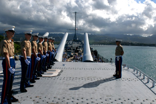 PEARL HARBOR, Hawaii- (Sept. 2, 2009) Veterans, family and military members convened on the deck of the USS Missouri to commemorate the 64th anniversary of the ending of World War II. The battleship was anchored in Tokyo Bay on Sept. 2, 1945 after the Japanese came aboard to sign surrender documents, officially ending the war.